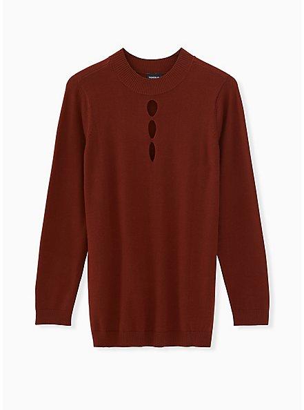 Brick Red Mock Neck Keyhole Pullover Sweater, MADDER BROWN, hi-res