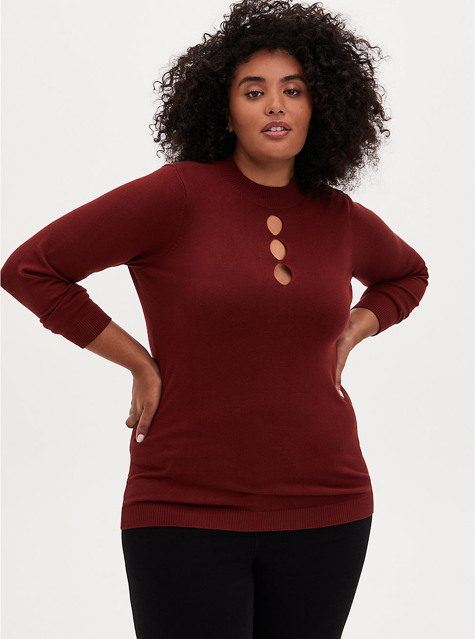 Plus Size Brick Red Mock Neck Keyhole Pullover Sweater, MADDER BROWN, hi-res