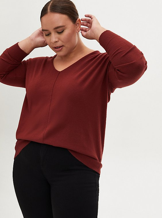 Brown Drop Shoulder Pullover Tunic, MADDER BROWN, hi-res