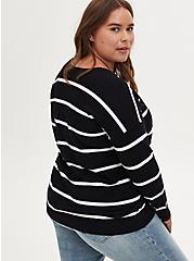 Black & White Stripe Drop Shoulder Pullover Tunic, MULTI STRIPE, alternate