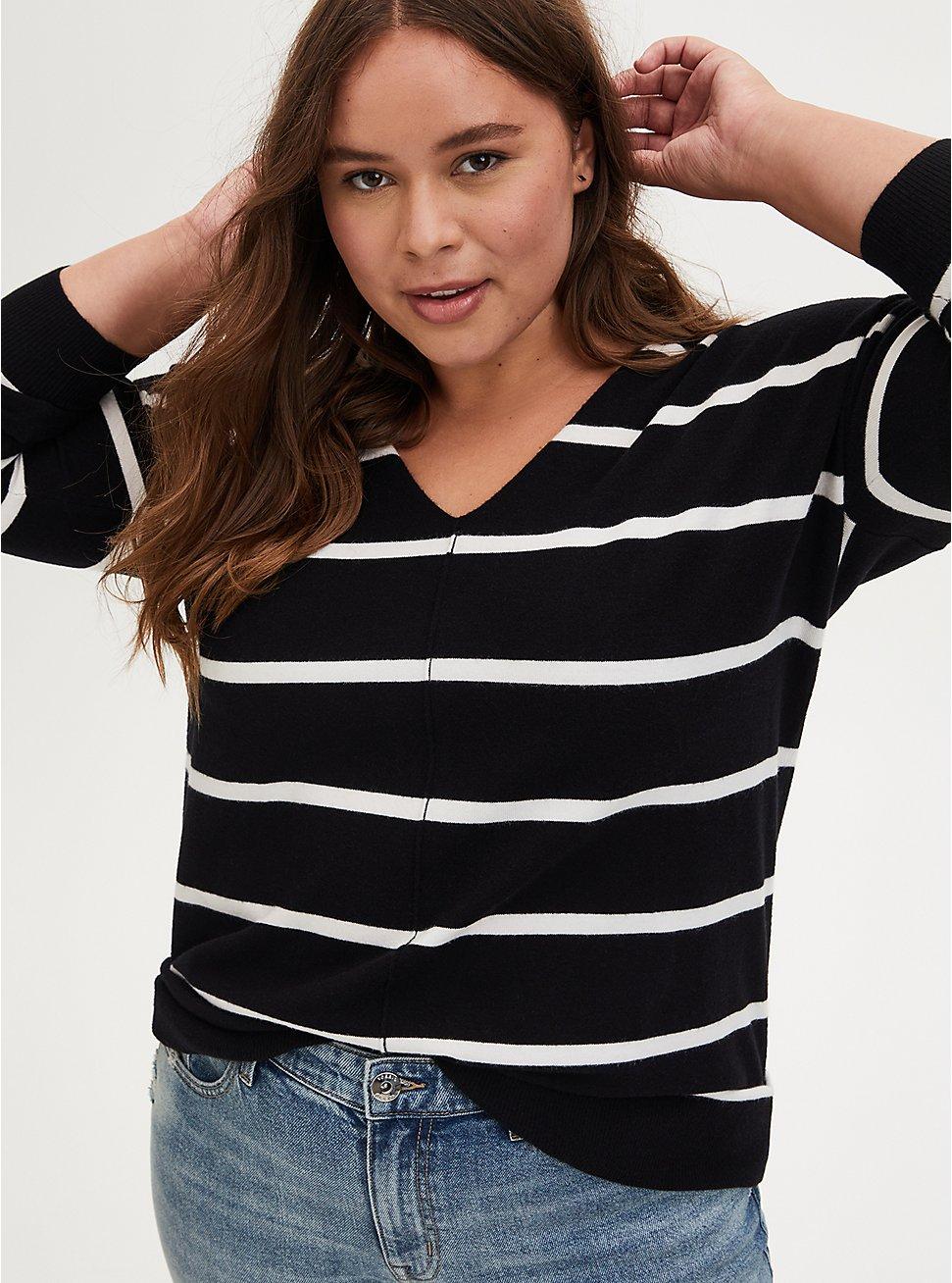 Black & White Stripe Drop Shoulder Pullover Tunic, MULTI STRIPE, hi-res