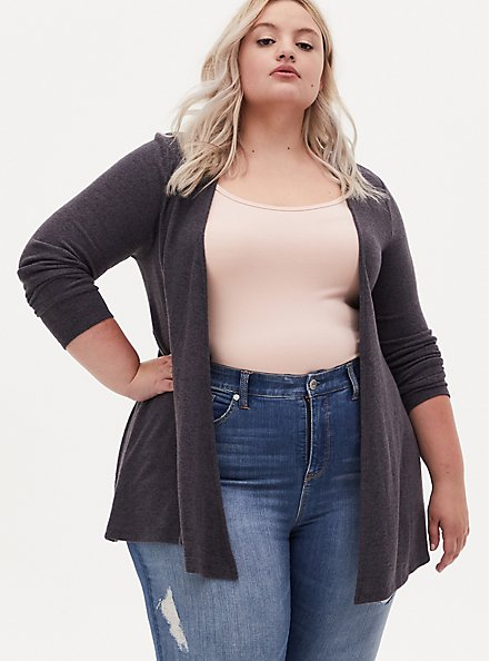 Super Soft Plush Dark Slate Grey Drape Front Cardigan, NINE IRON, hi-res