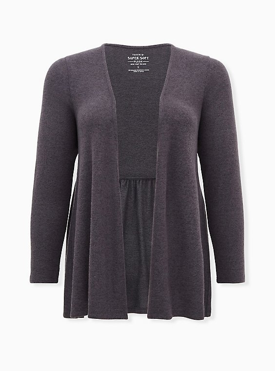 Super Soft Plush Dark Slate Grey Drape Front Cardigan, NINE IRON, ls