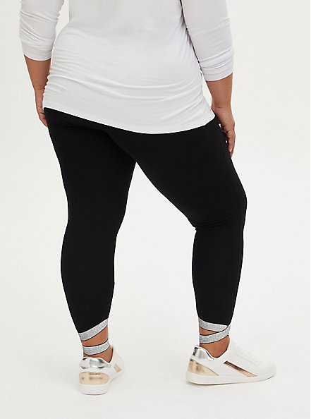 Premium Legging - Metallic Crisscross Hem Black, BLACK, alternate