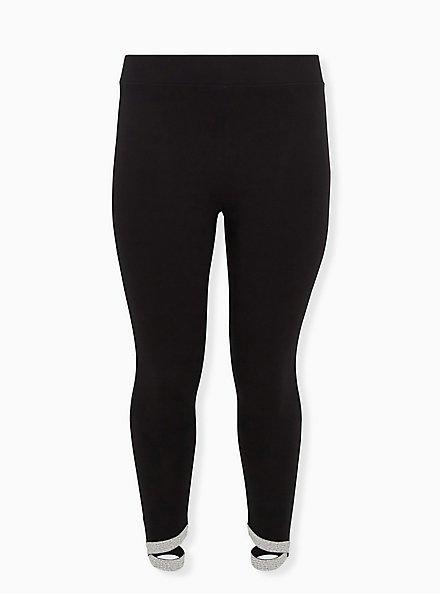 Premium Legging - Metallic Crisscross Hem Black, BLACK, hi-res