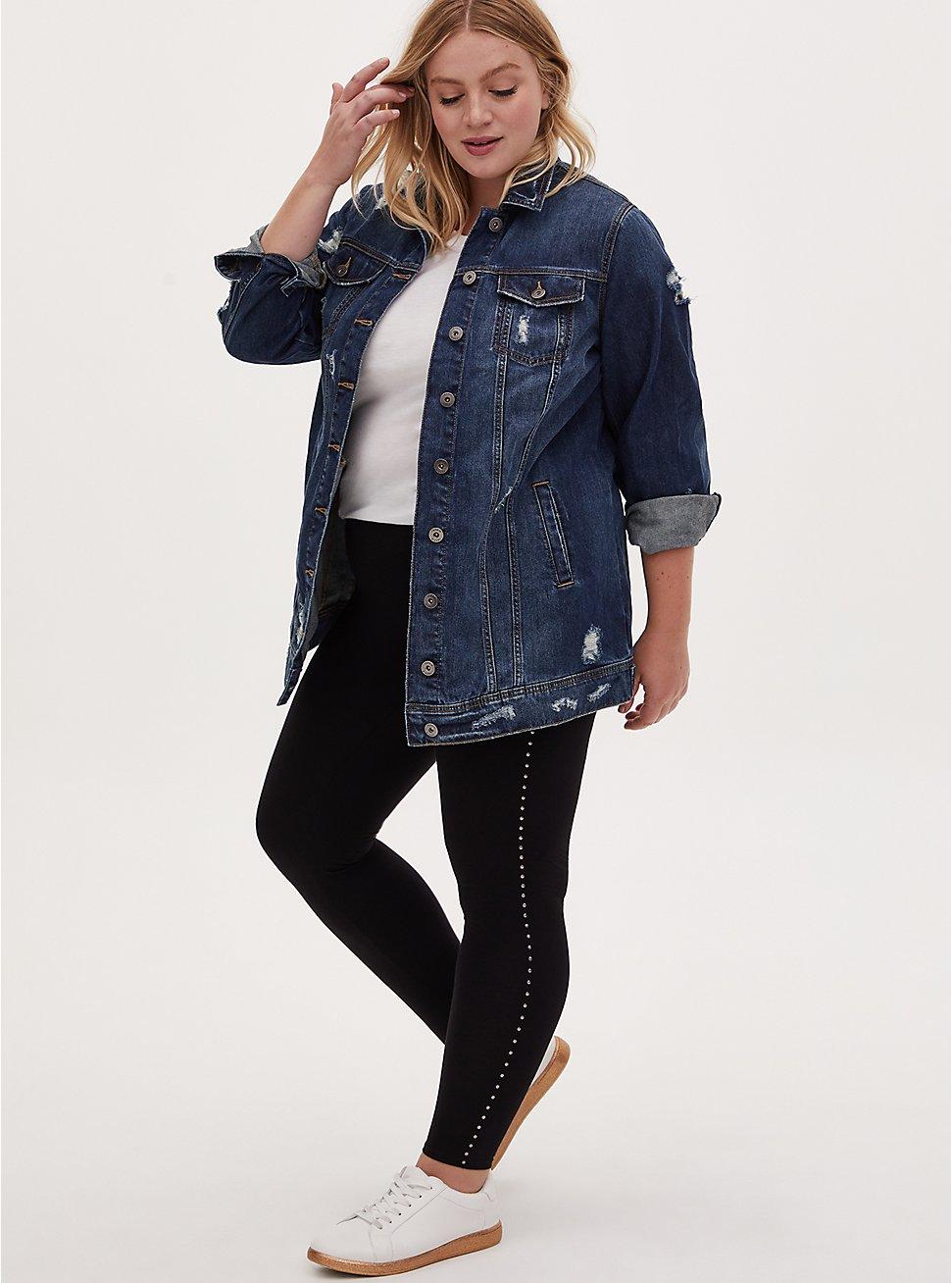 Premium Legging - Stripe Stud Black, BLACK, hi-res