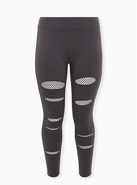 Premium Legging - Slashed Fishnet Underlay Dark Grey, GREY, hi-res