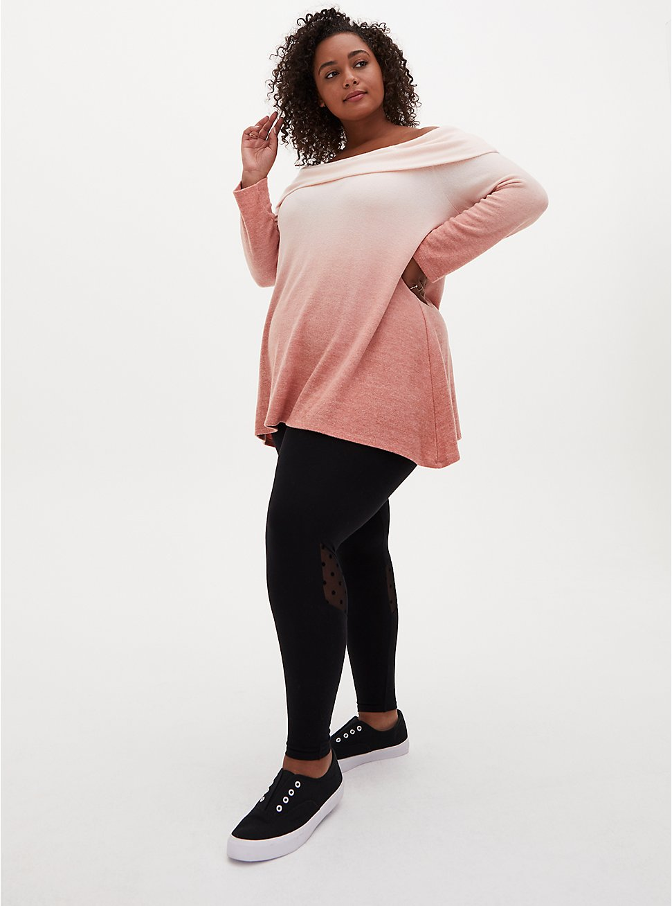 Plus Size Premium Legging - Mesh Dot Black, BLACK, hi-res