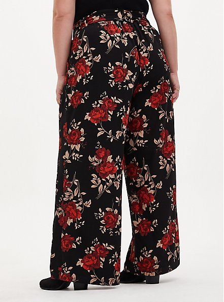 Floral Studio Knit Self Tie Wide Leg Pant, FLORAL - BLACK, alternate