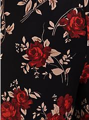 Floral Crepe Self Tie Wide Leg Pant, FLORAL - BLACK, alternate