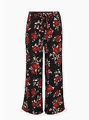 Floral Crepe Self Tie Wide Leg Pant, FLORAL - BLACK, hi-res