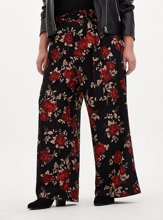 Floral Studio Knit Self Tie Wide Leg Pant, FLORAL - BLACK, hi-res