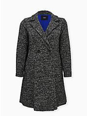 Black & White Boucle Statement Coat, DEEP BLACK, hi-res