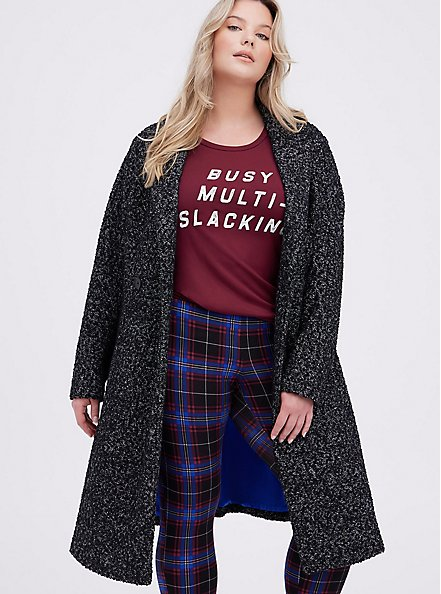 Black & White Boucle Statement Coat, DEEP BLACK, hi-res
