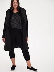 Black Woolen Faux Fur Collar Coat, DEEP BLACK, alternate