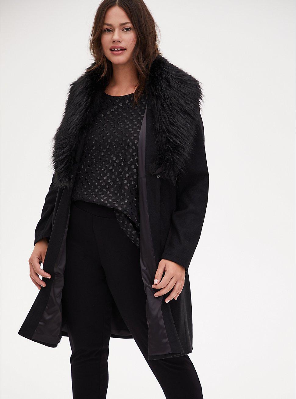 Black Woolen Faux Fur Collar Coat, DEEP BLACK, hi-res