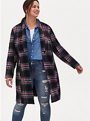 Black & Hot Pink Plaid Woolen Fit & Flare Longline Coat, PLAID - BLACK, alternate