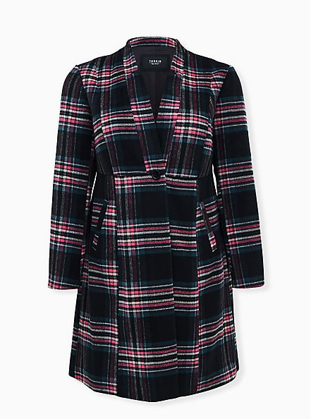 Black & Hot Pink Plaid Woolen Fit & Flare Longline Coat, PLAID - BLACK, hi-res