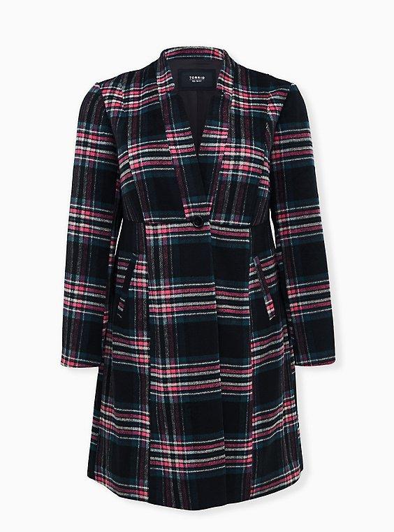 Black & Hot Pink Plaid Woolen Fit & Flare Longline Coat, , flat
