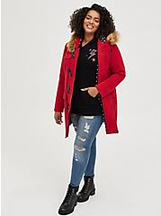 Red Brushed Ponte Hooded Toggle Coat, JESTER RED, alternate