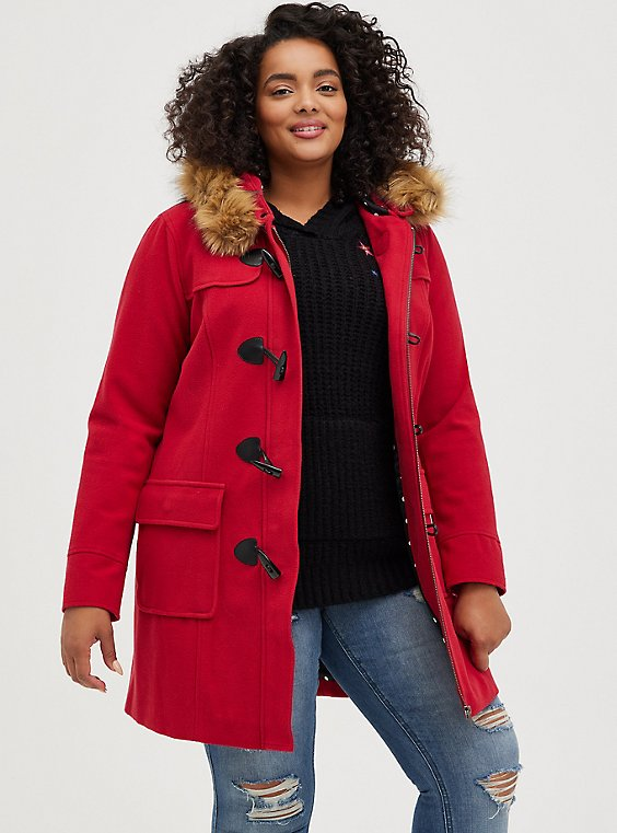 Red Brushed Ponte Hooded Toggle Coat, JESTER RED, hi-res