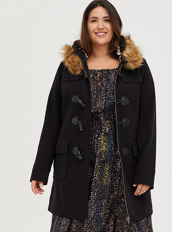 Black Brushed Ponte Hooded Toggle Coat, , hi-res