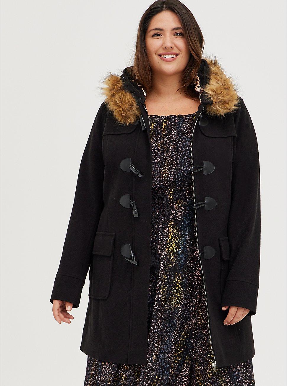 Black Brushed Ponte Hooded Toggle Coat, DEEP BLACK, hi-res