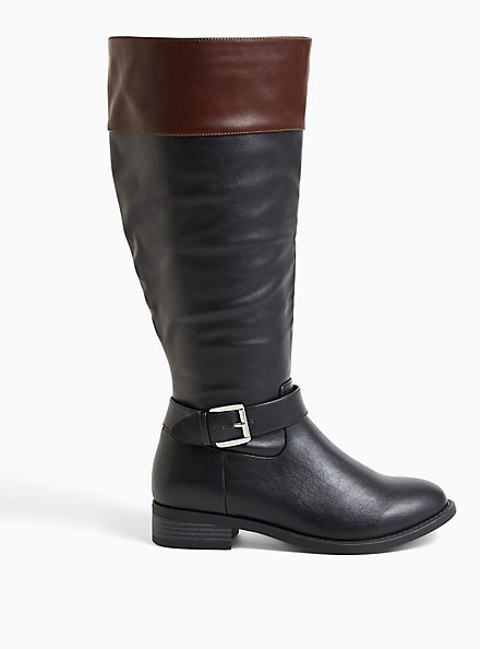 Plus Size Black Faux Leather Two Tone Buckle Knee-High Boot (WW), BLACK, alternate