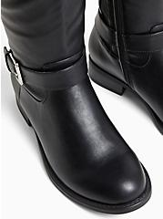 Black Faux Leather Two Tone Buckle Knee-High Boot (WW), BLACK, alternate