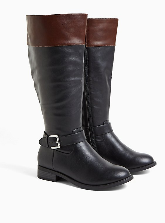 Plus Size Black Faux Leather Two Tone Buckle Knee-High Boot (WW), BLACK, hi-res