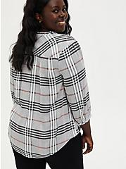 Black & Peach Plaid Twill Peasant Blouse, PLAID - GREY, alternate