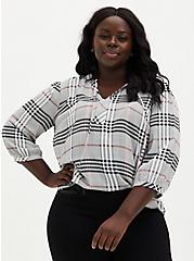 Black & Peach Plaid Twill Peasant Blouse, PLAID - GREY, hi-res