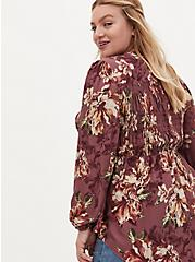 Plus Size Walnut Floral Twill Smocked Tunic , FLORAL - PINK, alternate