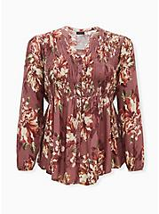 Plus Size Walnut Floral Twill Smocked Tunic , FLORAL - PINK, hi-res