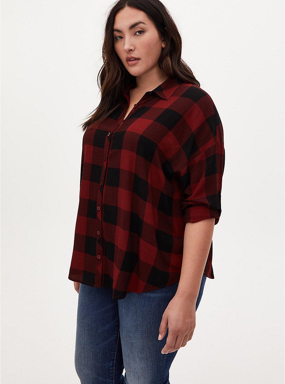 Rust Plaid Drop Shoulder Shirt, PLAID - RED, hi-res
