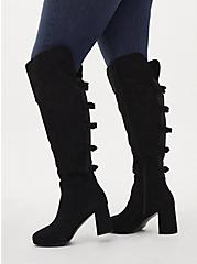Plus Size Black Faux Suede Bow Over-The-Knee Boot (WW), BLACK, alternate