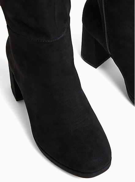Black Faux Suede Bow Over-The-Knee Boot (WW), BLACK, alternate