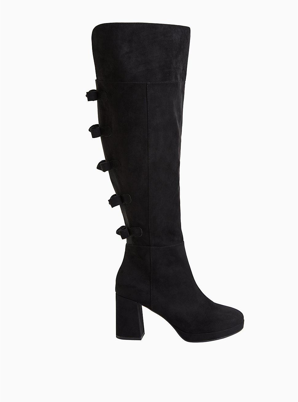 Plus Size Black Faux Suede Bow Over-The-Knee Boot (WW), BLACK, hi-res