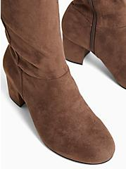 Chestnut Brown Faux Suede Stretch Over-The-Knee Boot (WW), BROWN, alternate