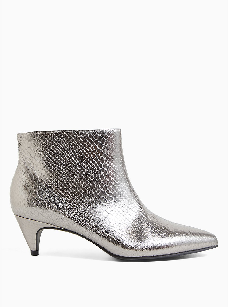 Pewter Snakeskin Faux Leather Kitten Heel Bootie (WW), PEWTER GREY, hi-res