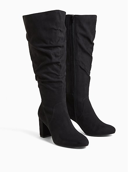 Black Faux Suede Scrunch Block Heel Knee-High Boot (WW), BLACK, alternate