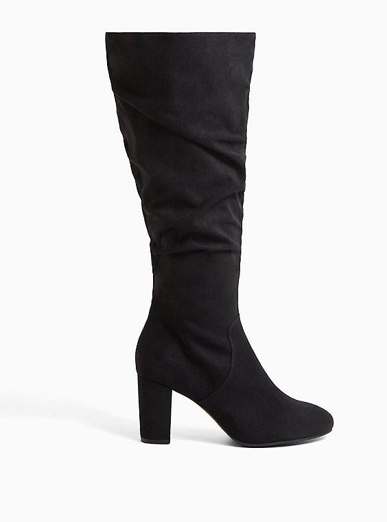 Black Faux Suede Scrunch Block Heel Knee-High Boot (WW), , hi-res