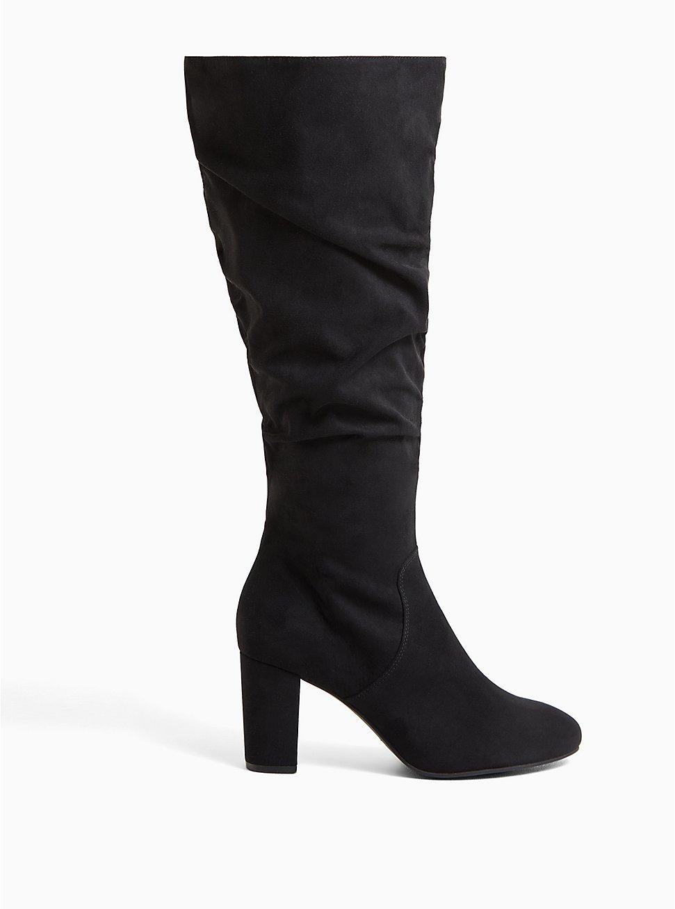 Black Faux Suede Scrunch Block Heel Knee-High Boot (WW), BLACK, hi-res
