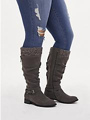 Grey Oiled Faux Suede Sweater-Trimmed Knee-High Boot (WW & Wide to Extra Wide Calf), GREY, alternate