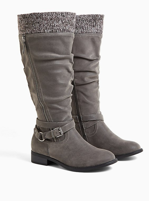 Grey Oiled Faux Suede Sweater-Trimmed Knee-High Boot (WW & Wide to Extra Wide Calf), GREY, hi-res
