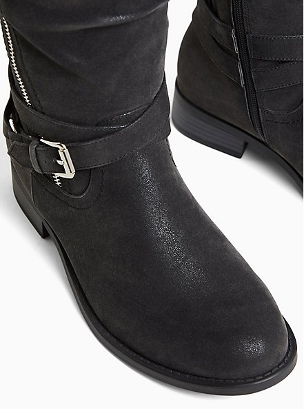 Black Oiled Sweater Trimmed Buckle Knee-High Boot (WW & Wide to Extra Wide Calf), BLACK, alternate