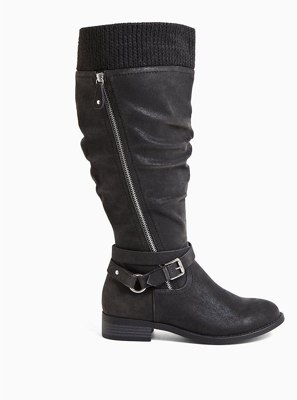 Plus Size Black Oiled Sweater Trimmed Buckle Knee-High Boot (WW & Wide to Extra Wide Calf), BLACK, hi-res