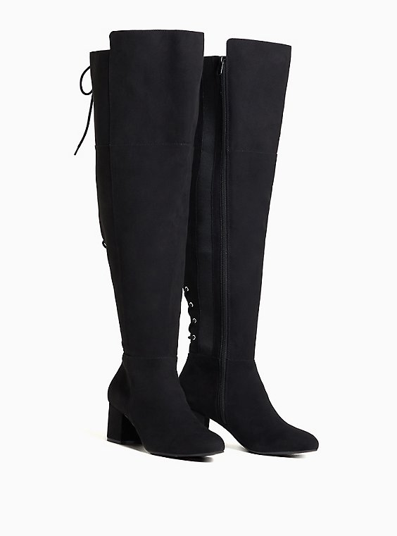 Black Faux Suede Corset Over-The-Knee Boot (WW), BLACK, hi-res