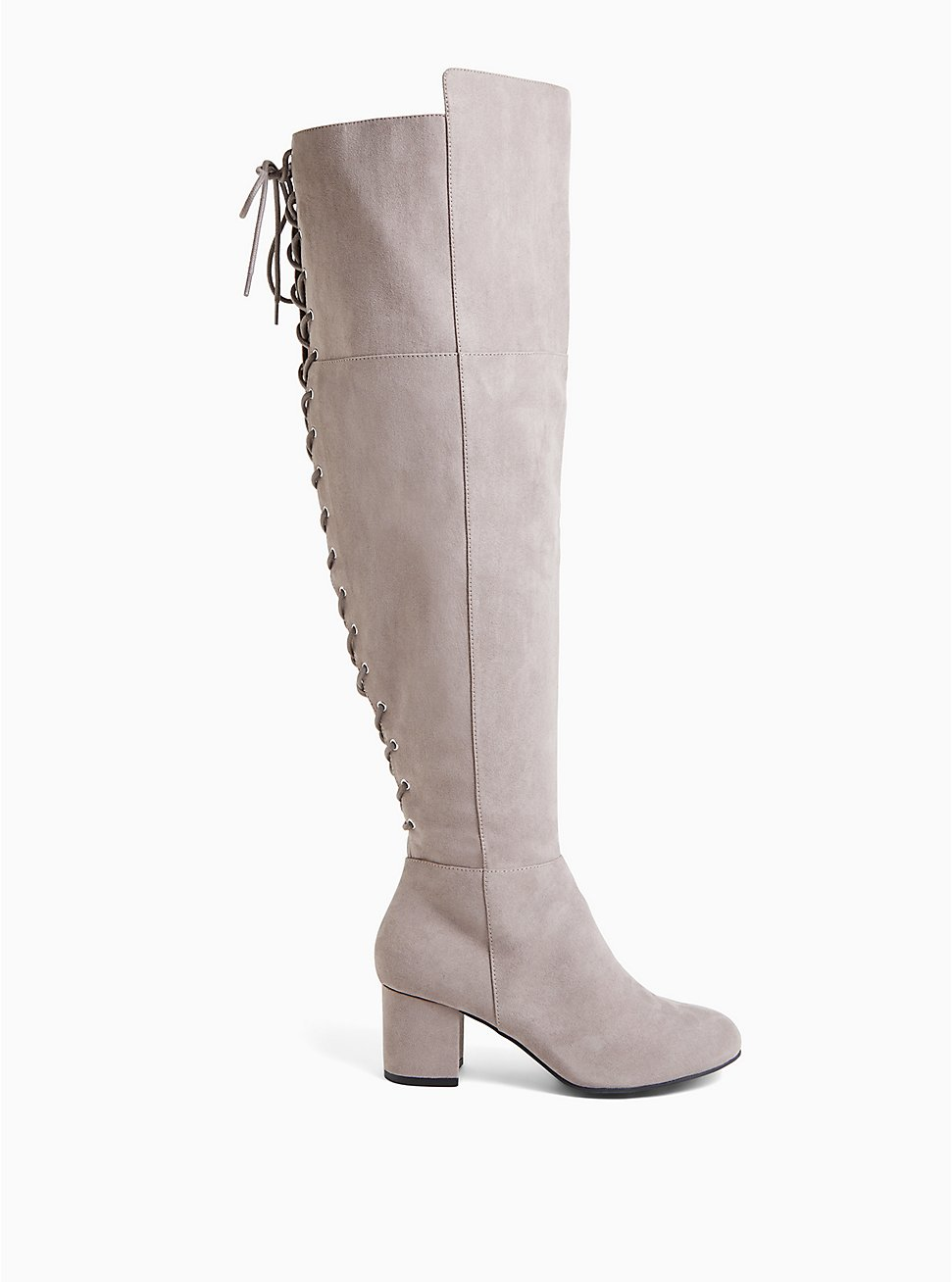 Grey Faux Suede Corset Back Over-the-Knee Boot (WW), GREY, hi-res