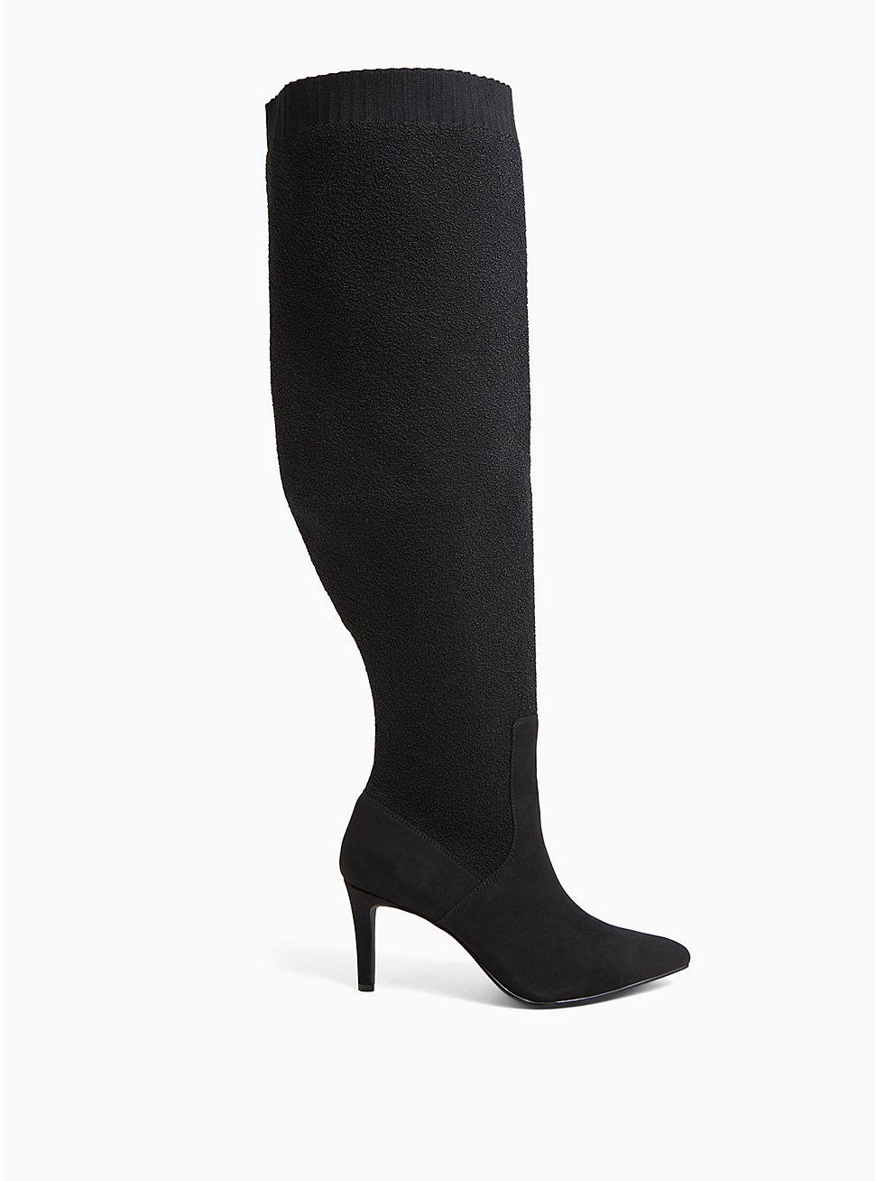 Black Stretch Over-The-Knee Boot (WW), BLACK, hi-res